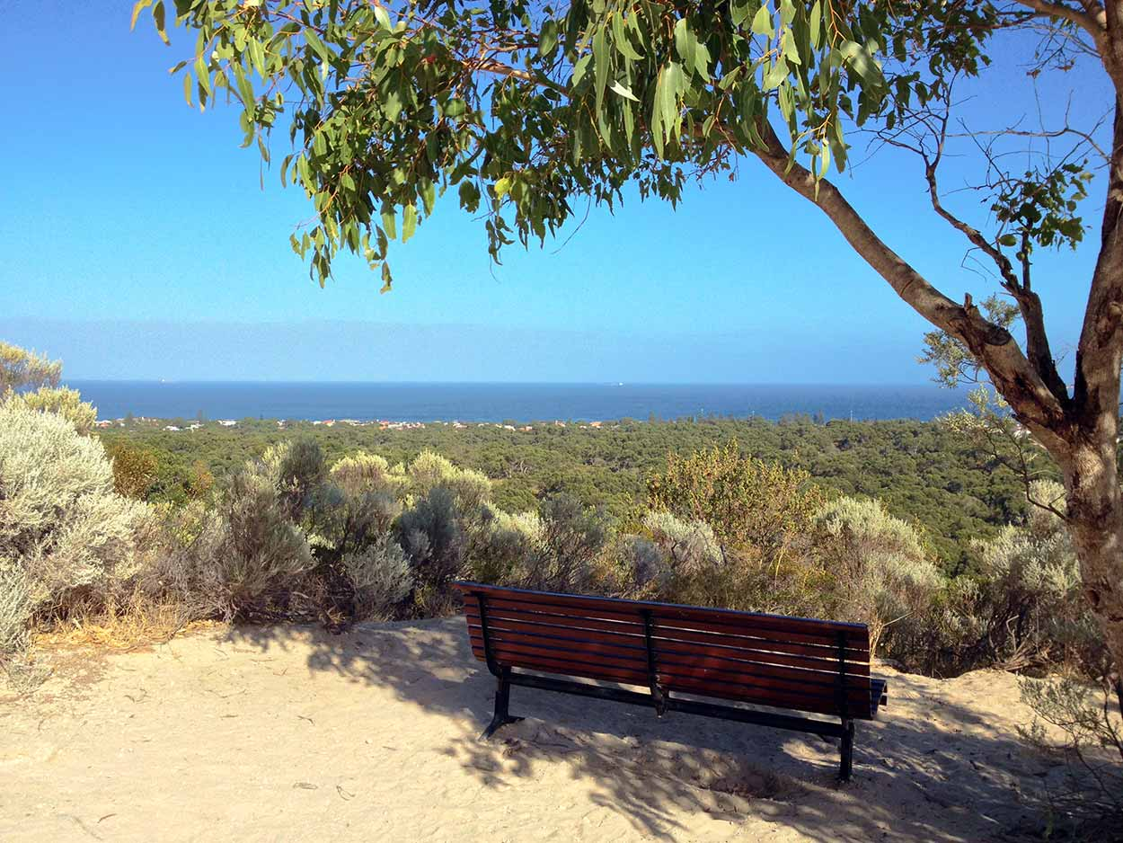 A quite place to sit and take in the spectacular views of the Indian Ocean, Bold Park, Perth, Western Australia