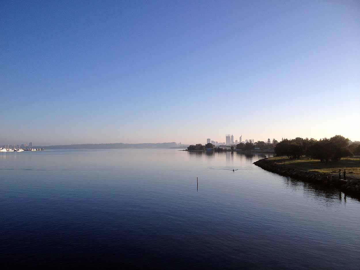 Looking out towards the Swan River from the Canning Bridge one early morning, Perth, Western Australia