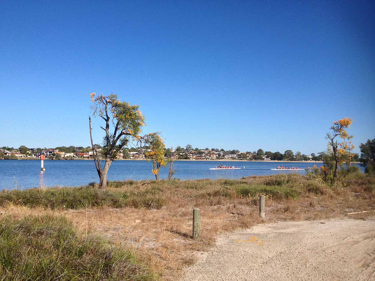 Watching rowers on the Canning River from Salter Point, Perth, Western Australia