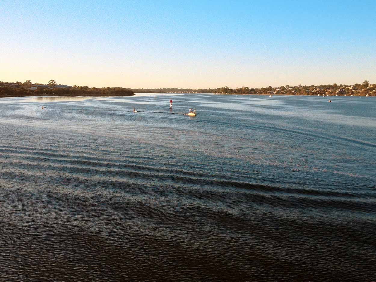 The view of the Canning River from the aptly named Canning Bridge, Perth, Western Australia
