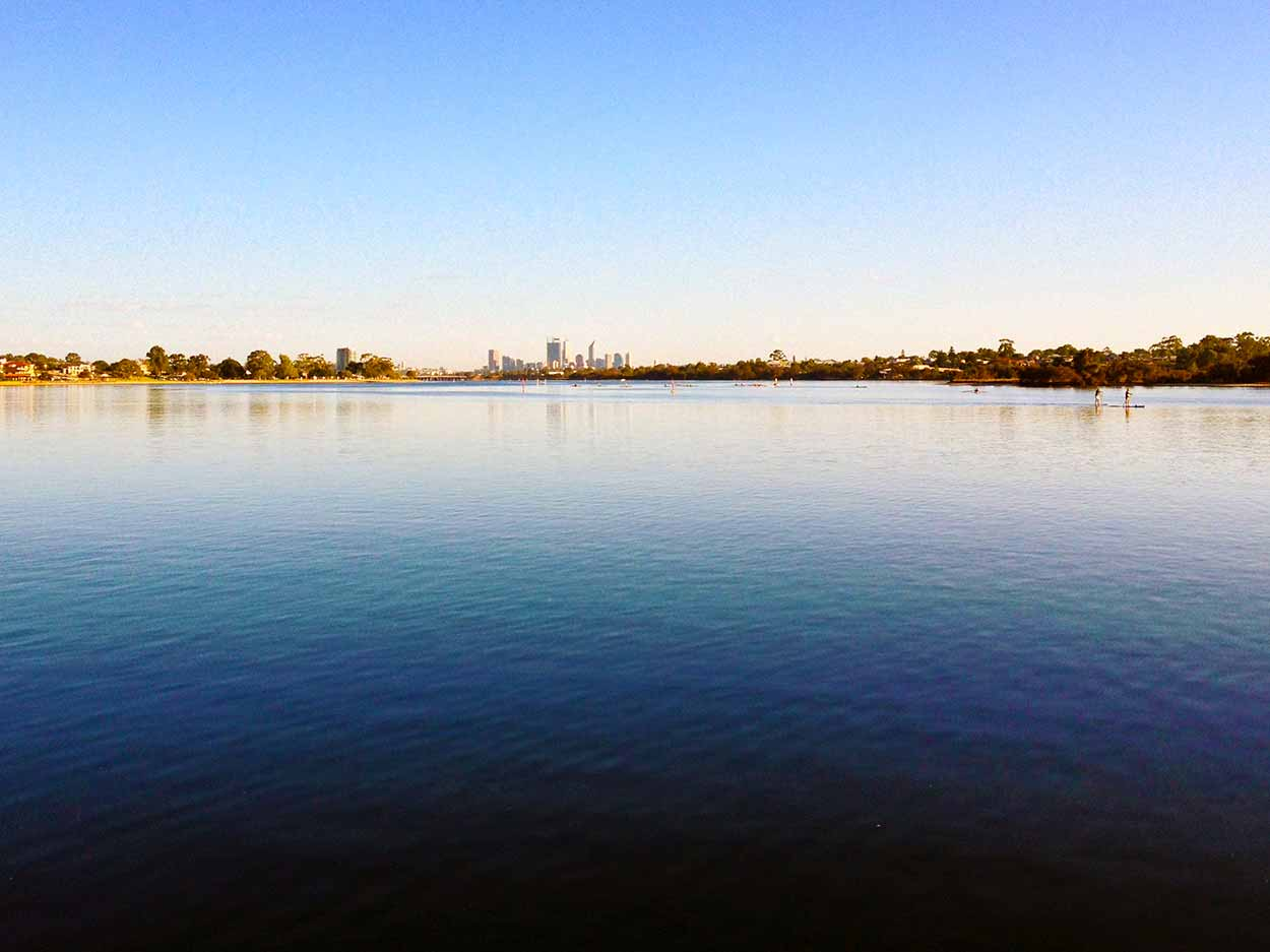 The view down the Canning River from a jetty on the western side of the Mount Henry Bridge, Canning River, Perth, Western Australia