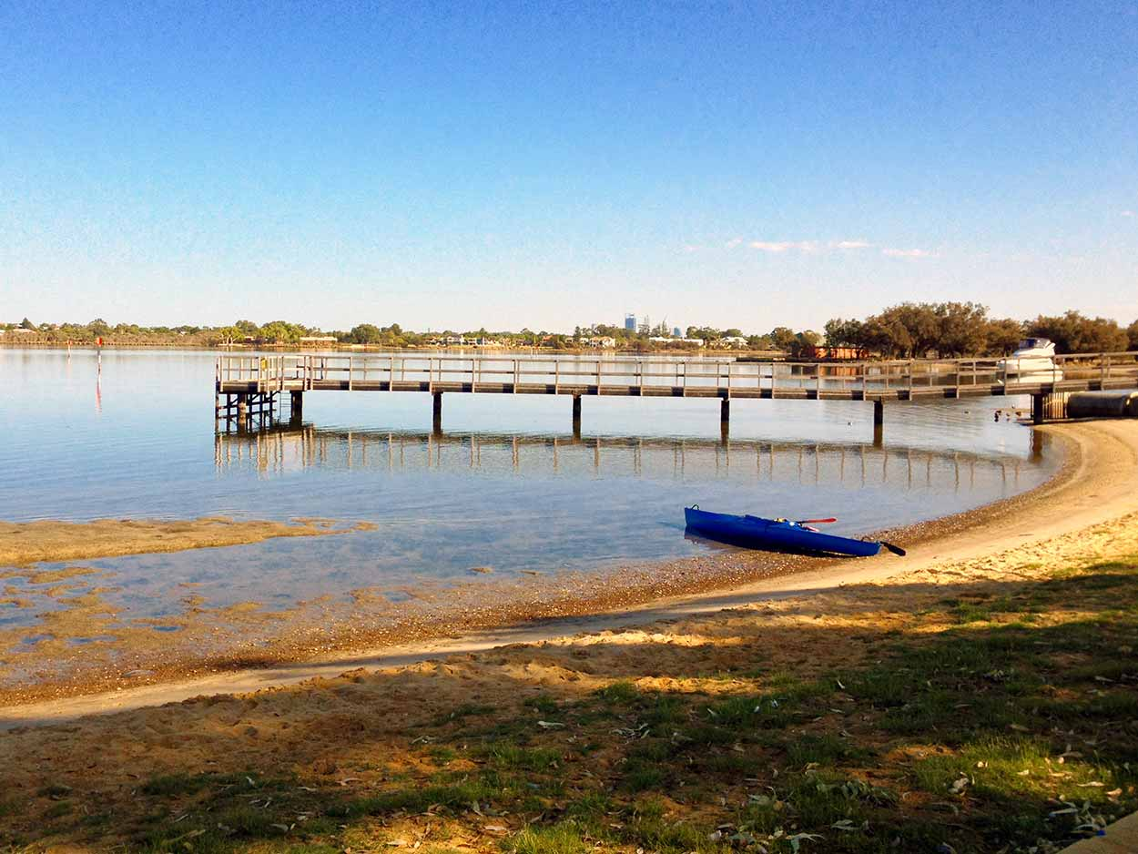 Shelley Beach Park jetty on the Canning River, Canning River, Perth, Western Australia