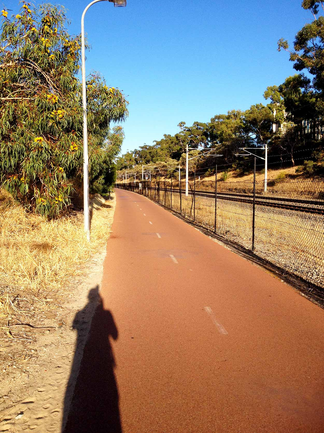 Walking along the City to the Sea path next to the train tracks in Subiaco, Perth, Western Australia