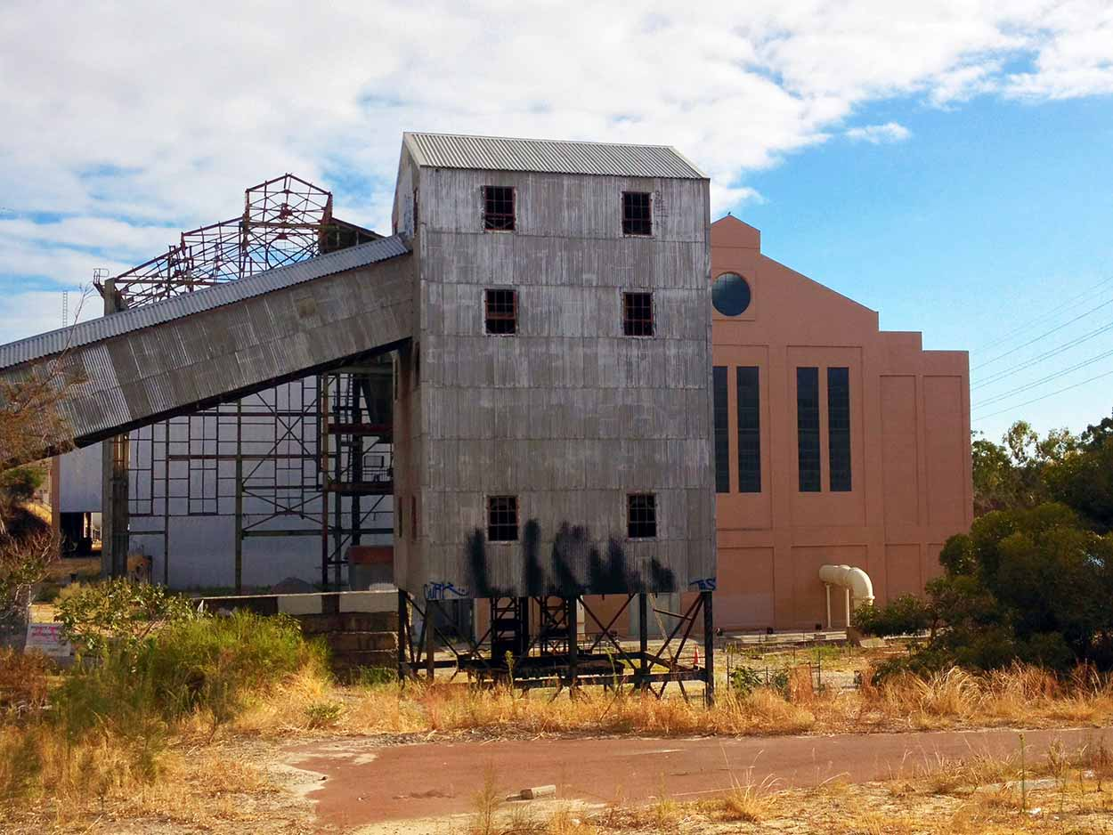 Old tin building within the Western Power grounds near the Graham Farmer Freeway, Perth, Western Australia