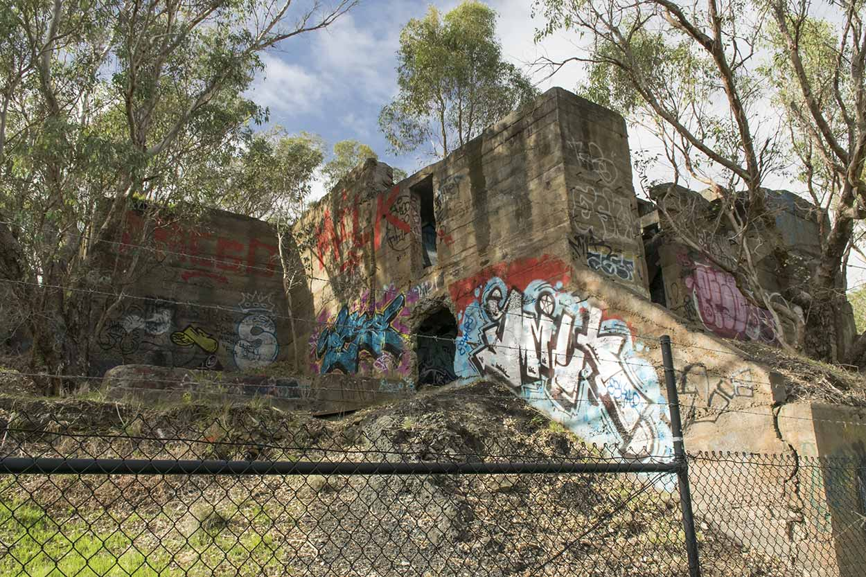 Remnant buildings of the old Statham's Quarry, Gooseberry Hill, Perth, Western Australia