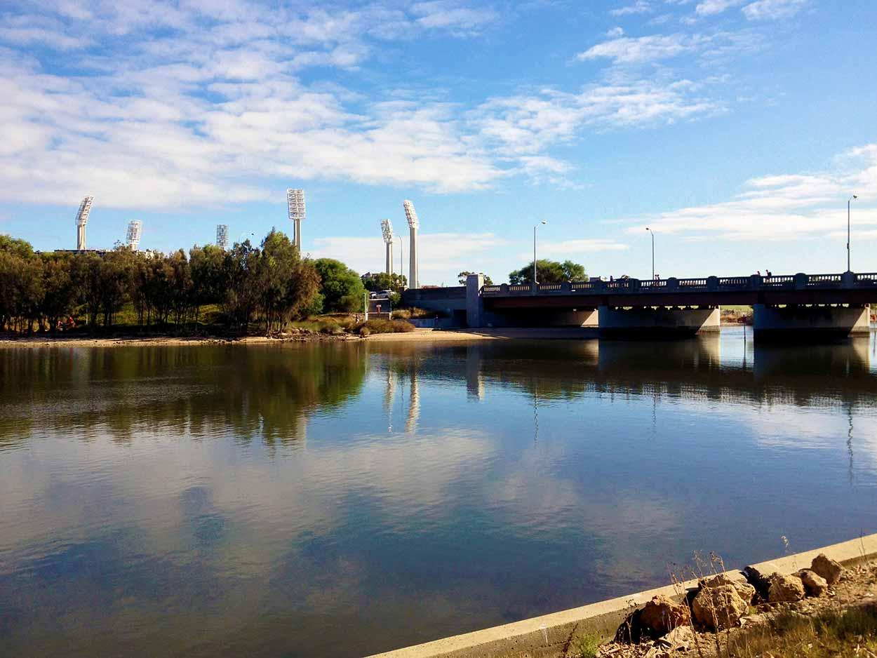 Looking over the Swan River towards the WACA cricket stadium from Heirisson Island, Perth, Western Australia
