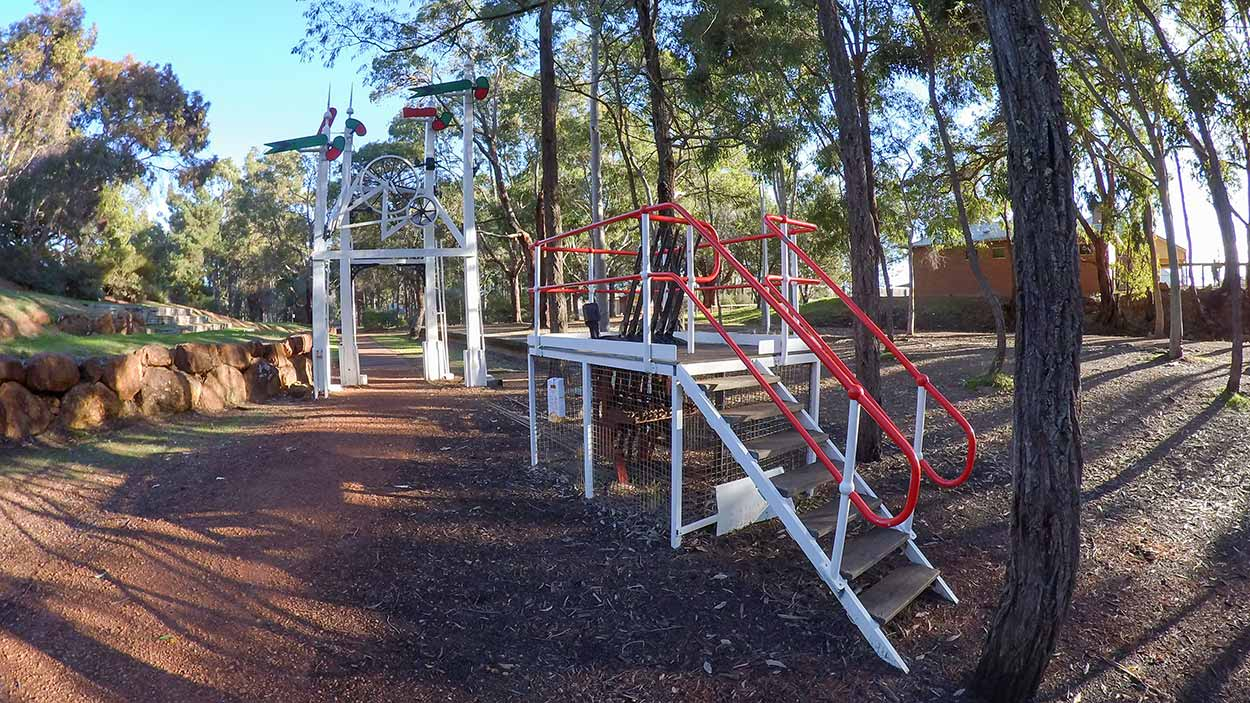 Railway heritage at Sculpture Park, Mundaring, Perth, Western Australia