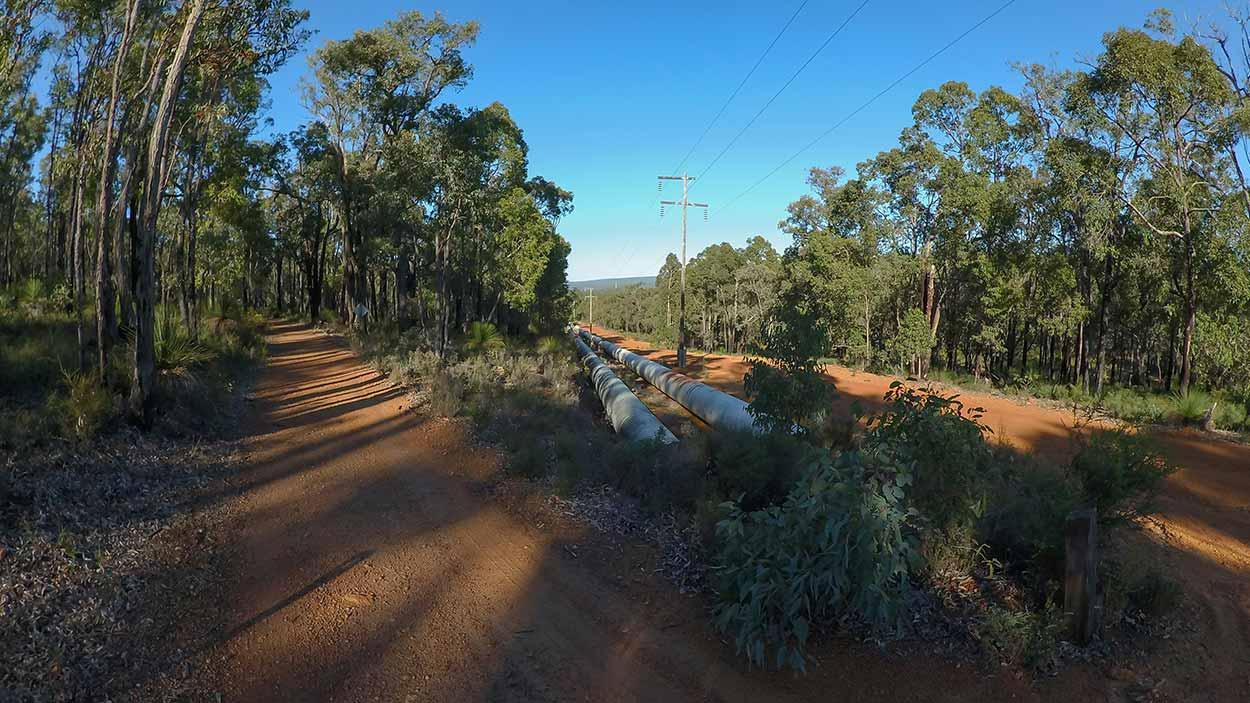 Water pipeline from Mundaring Weir, Mundaring, Perth, Western Australia
