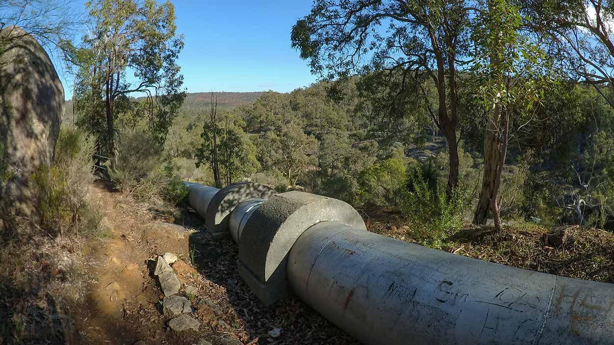 Water pipeline, Mundaring Weir, Perth, Western Australia
