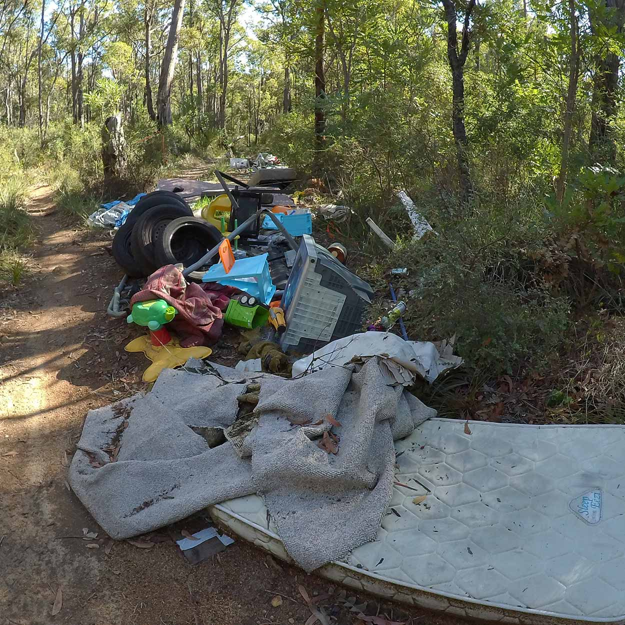 Dumped rubbish in bushland, Perth, Western Australia