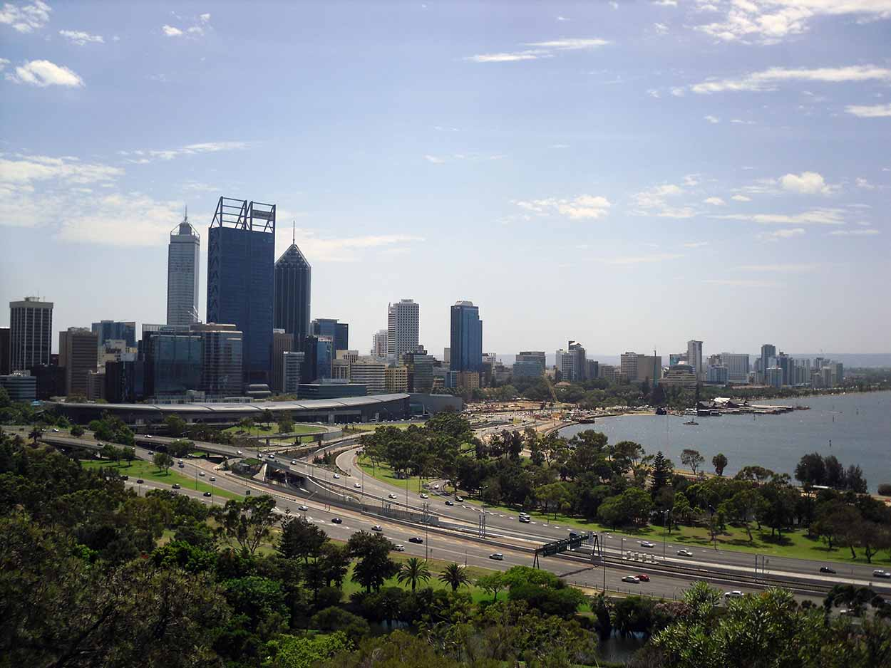 The view over the Swan River to the Perth CBD from Kings Park, Perth, Western Australia
