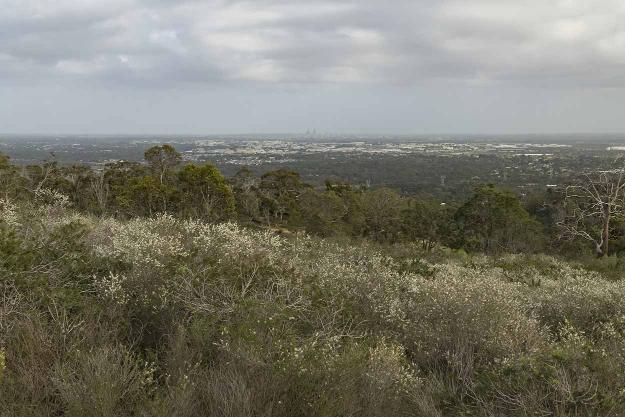 Views over the Swan Coastal Plain towards the Perth CBD, Korung National Park, Perth, Western Australia