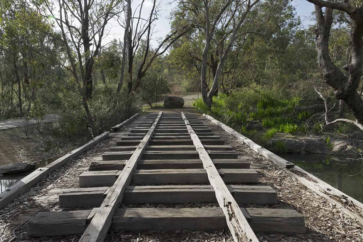 Crossing Mundy Brook via an old tramway bridge, Korung National Park, Perth, Western Australia