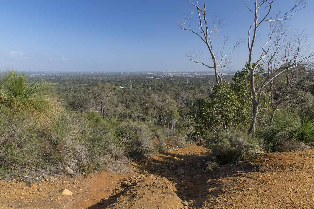Path with a view over the Swan Coastal Plain, Lion's Lookout, Perth, Western Australia