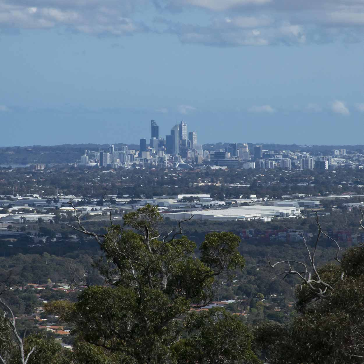 City views from the southern section of the Lewis Road Walk, Mundy Regional Park, Perth, Western Australia