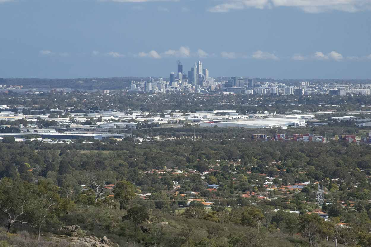 Perth CBD views from the southern section of the Lewis Road Walk, Mundy Regional Park, Perth, Western Australia