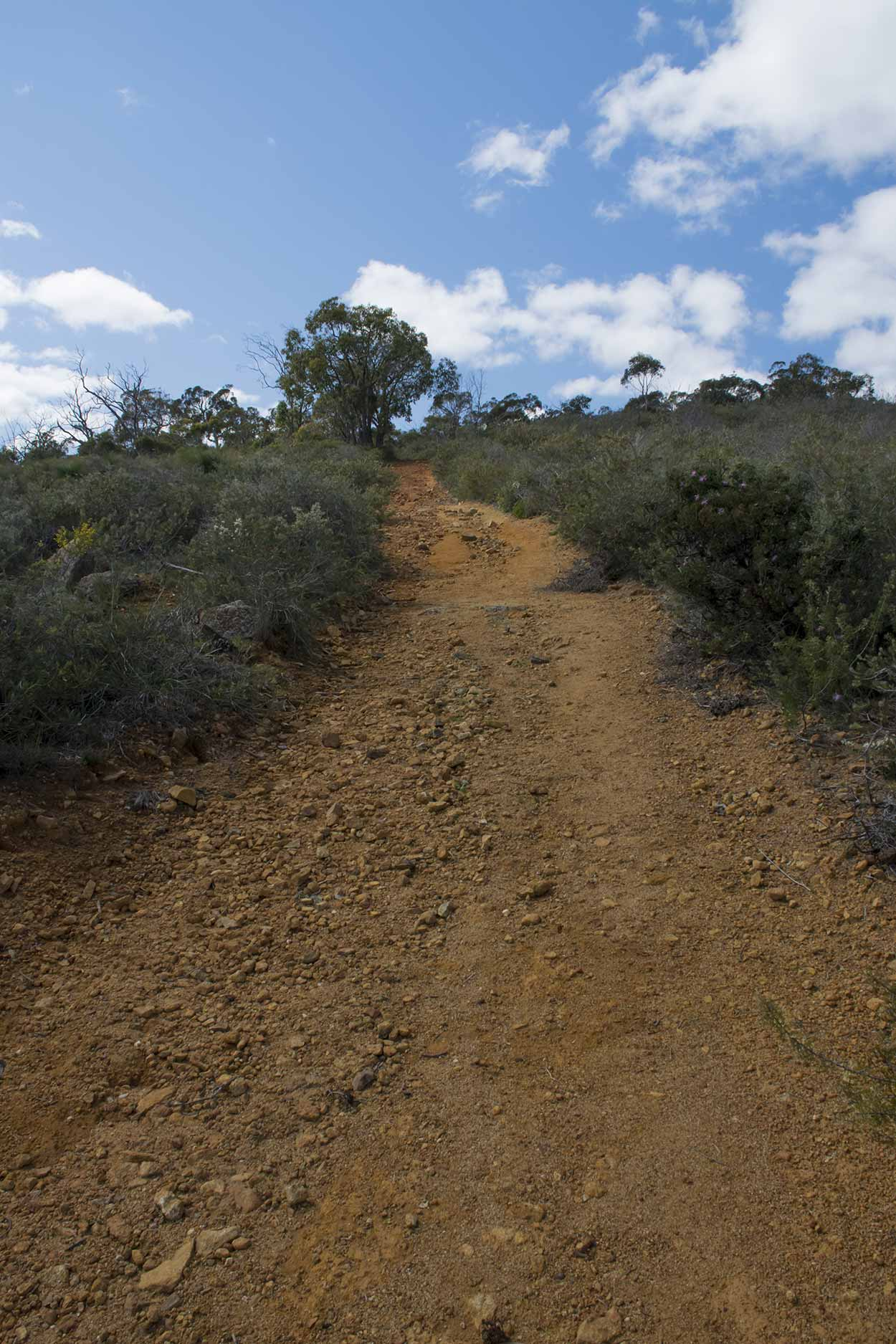 An uphill climb on the Lewis Road Walk, Mundy Regional Park, Perth, Western Australia