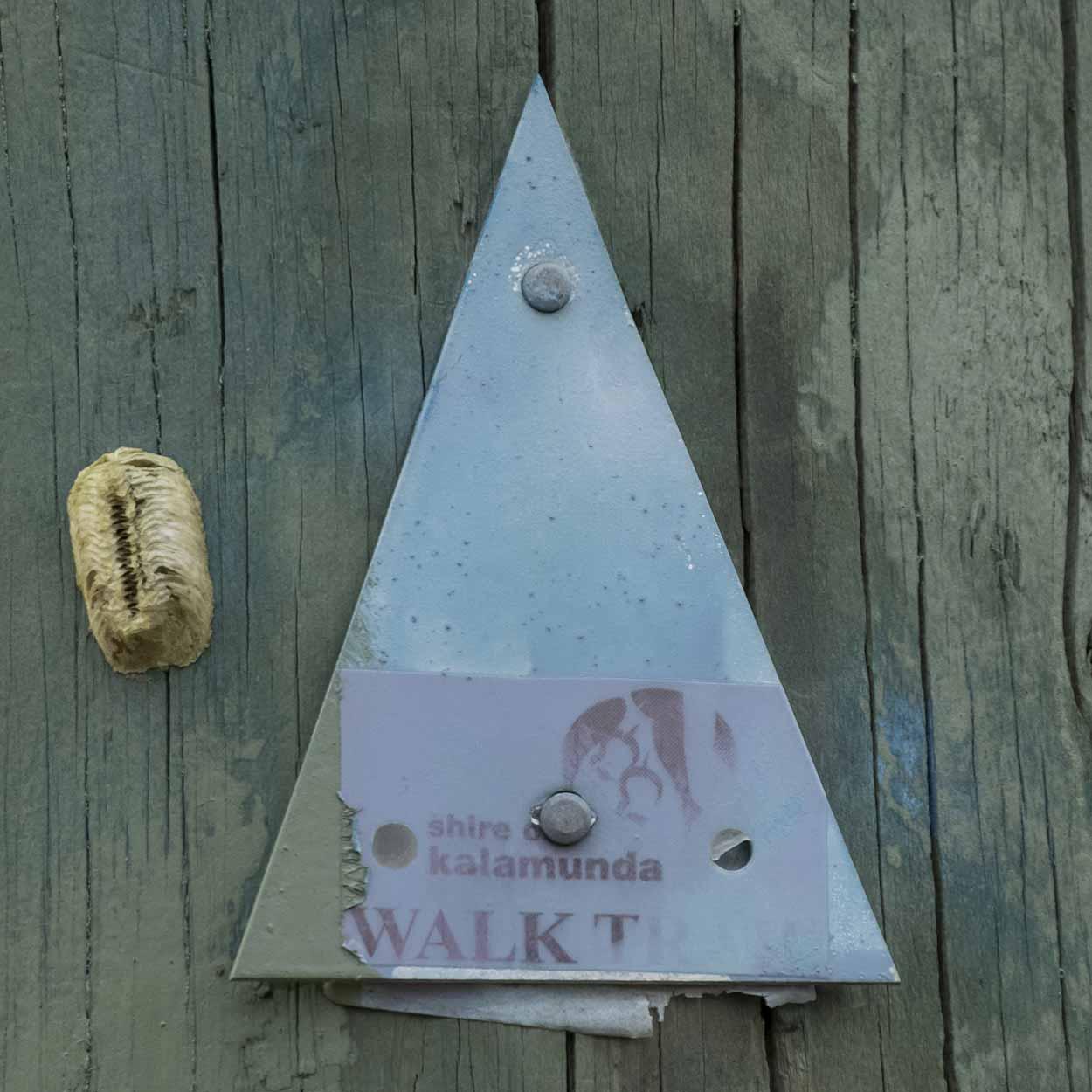 Mauve trail marker for the West Terrace Walk, Mundy Regional Park, Perth, Western Australia