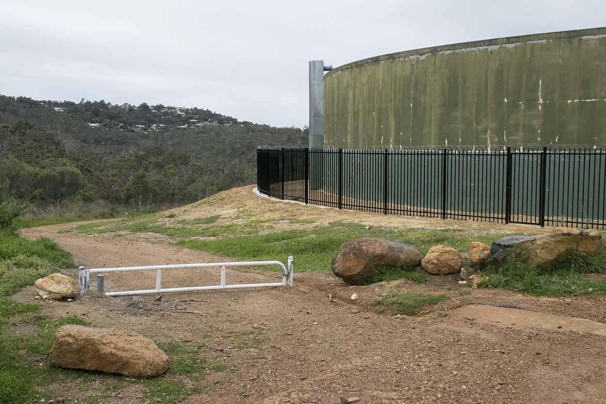 Water tank on the West Terrace Walk, Mundy Regional Park, Perth, Western Australia