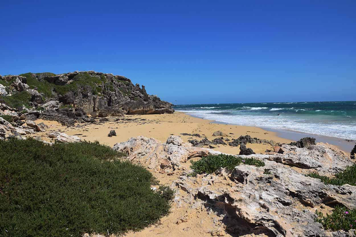 The rocky western shoreline of Penguin Island, Rockingham, Perth, Western Australia