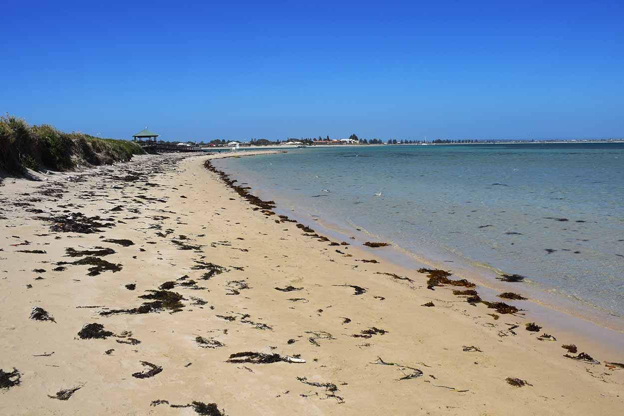 A quiet beach on the eastern shore of Penguin Island, Rockingham, Perth, Western Australia