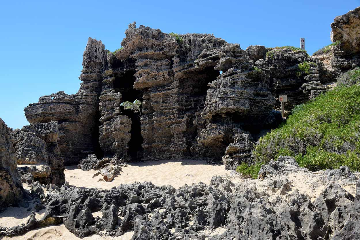 The weathered rocks on the western shoreline of Penguin Island, Rockingham, Perth, Western Australia