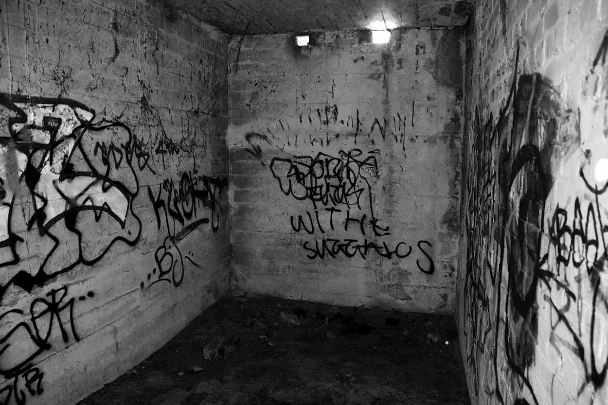 Inside a WWII bunker hidden amongst the Point Peron sand dunes, Rockingham, Perth, Western Australia