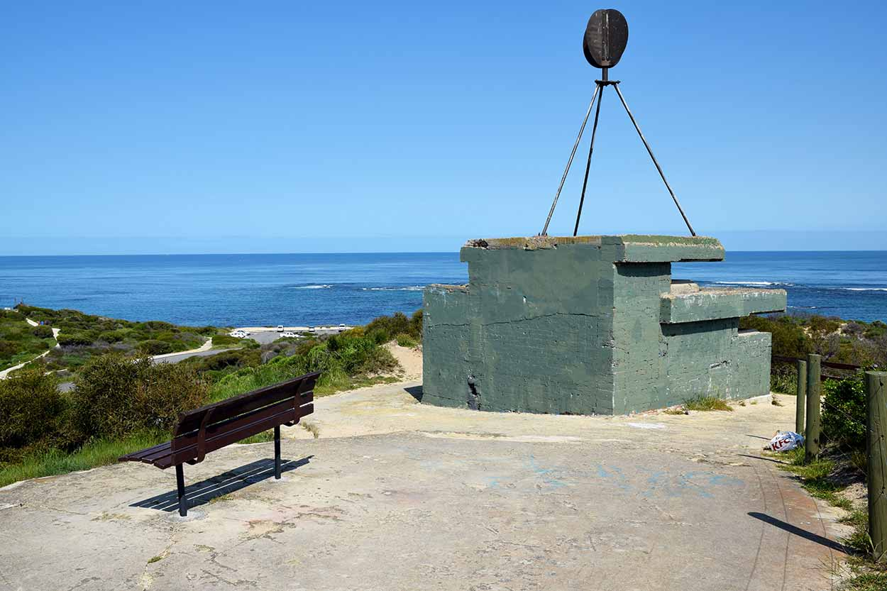 The Shoalwater Islands Marine Park and the WWII observation post as viewed from the summit of Point Peron, Rockingham, Perth, Western Australia