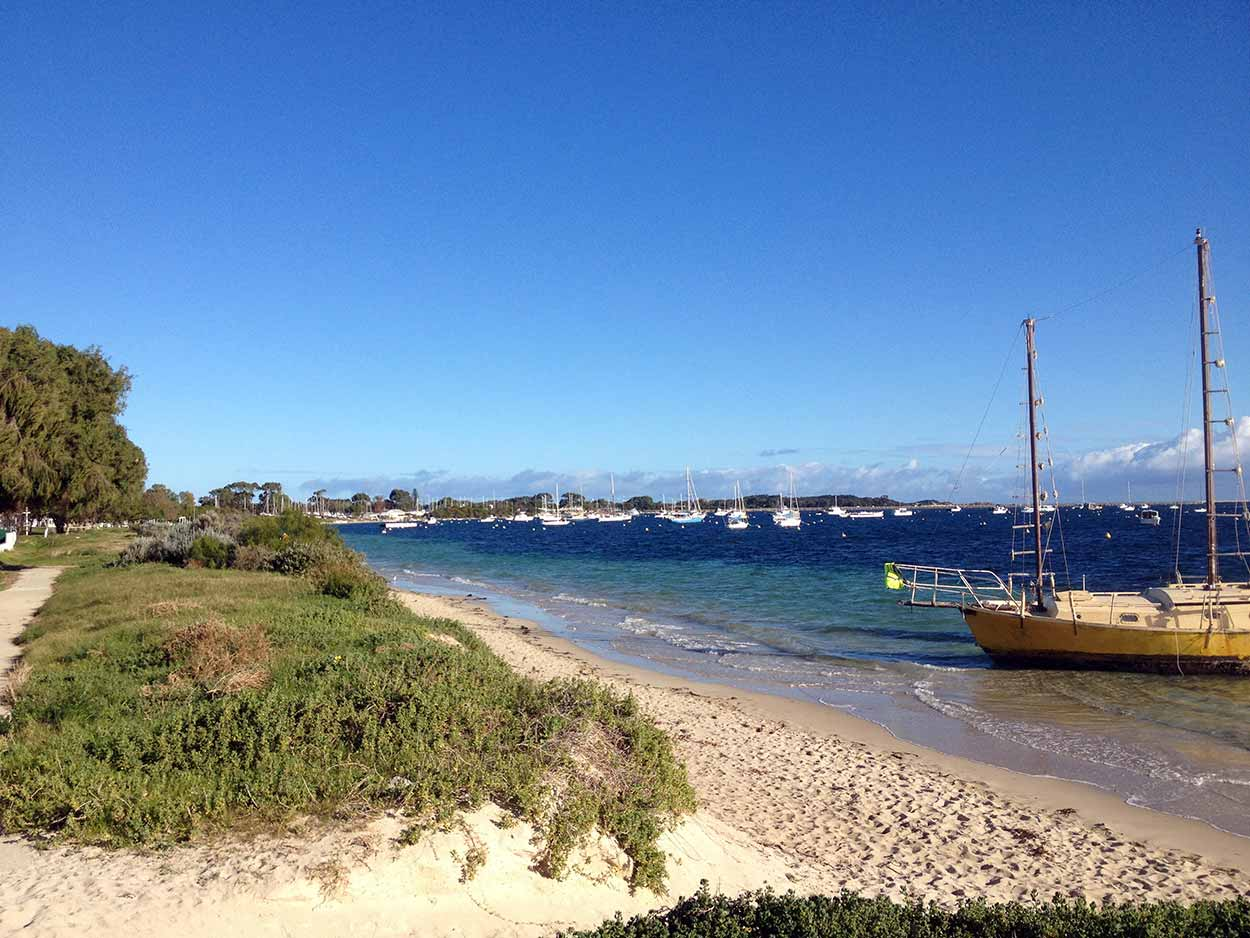 Boats moored at Mangles Bay, Rockingham, Perth, Western Australia