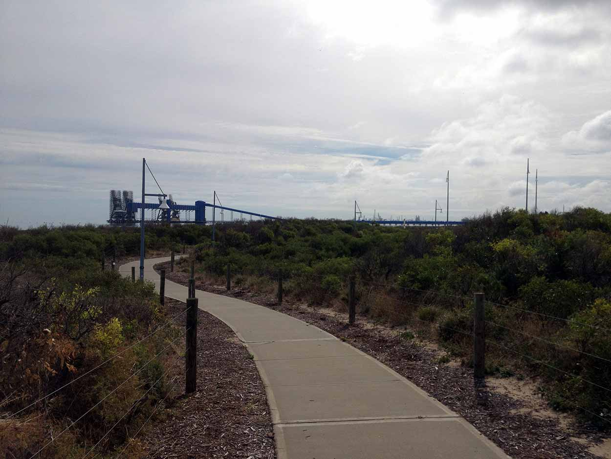 Walking through the dunes of the Rockingham Foreshore Reserve, Perth, Western Australia