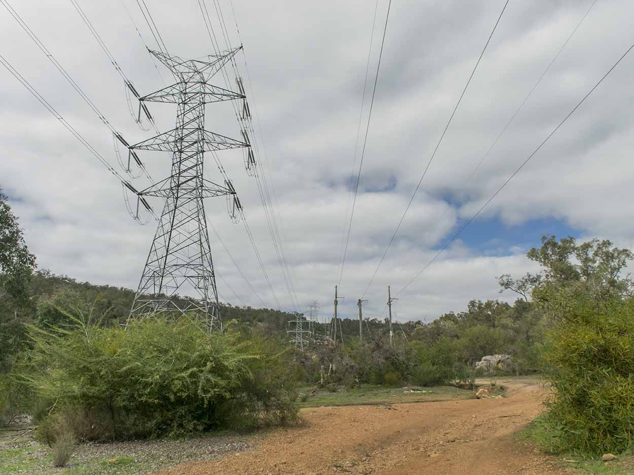 Powerlines over the Rocky Pool Walk, Kalamunda National Park, Perth, Western Australia