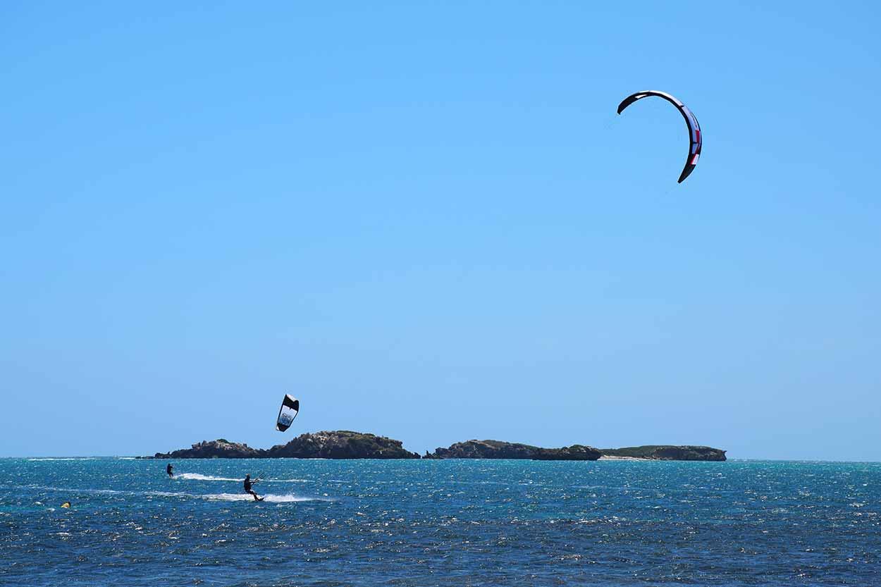 Kitesurfers enjoying the wind off Mersey Point, Shoalwater, Perth, Western Australia