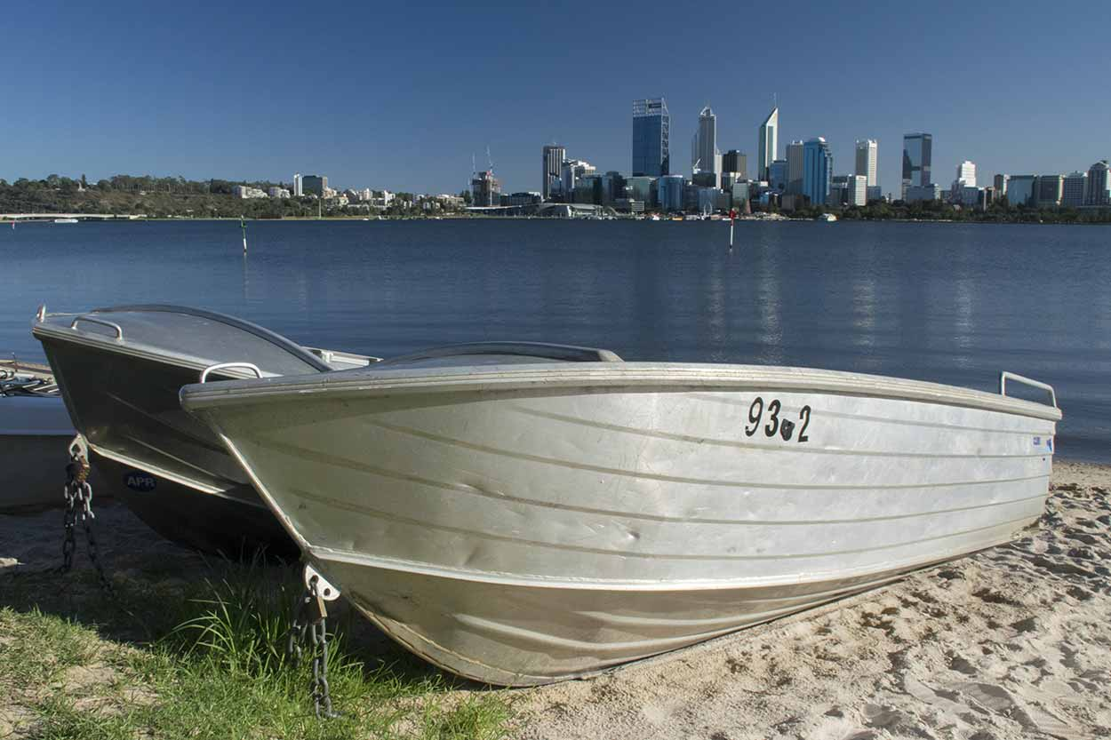 Boats on the banks of the Swan River, South Perth, Western Australia