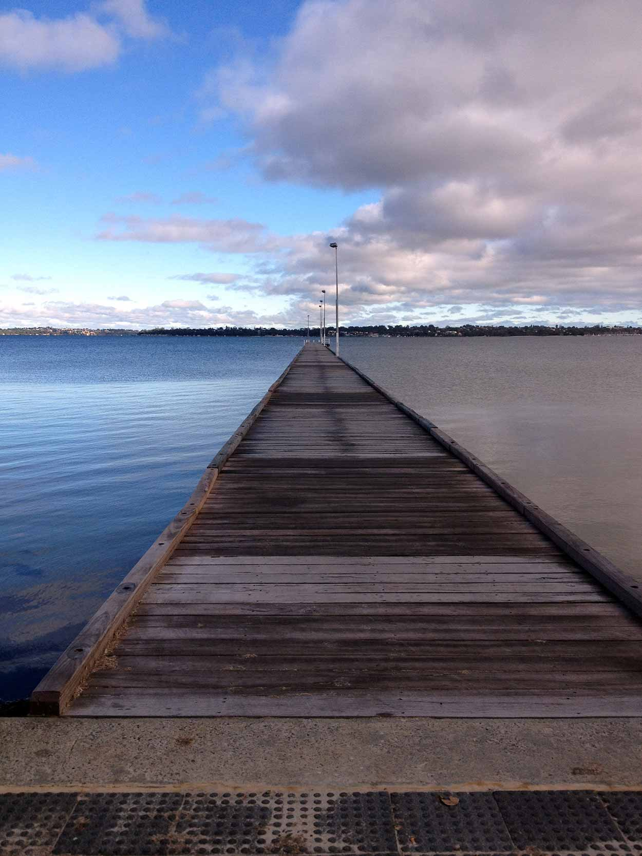 The 210 metre Como Jetty stretching out into the Swan River,  Perth, Western Australia