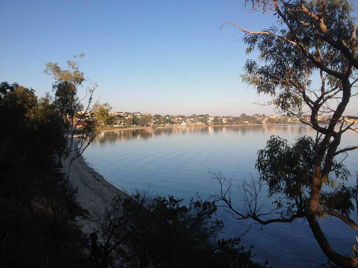 The Swan River on an early morning from Point Heathcote Reserve, Applecross, Perth, Western Australia