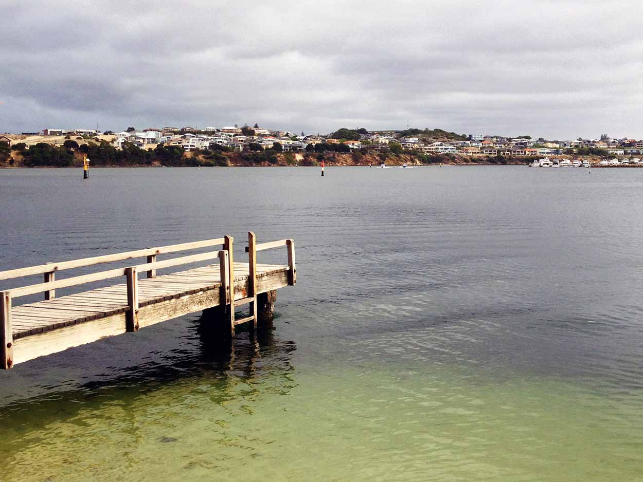 A jetty on the Swan River next to the Water Police Station in North Fremantle, Perth, Western Australia