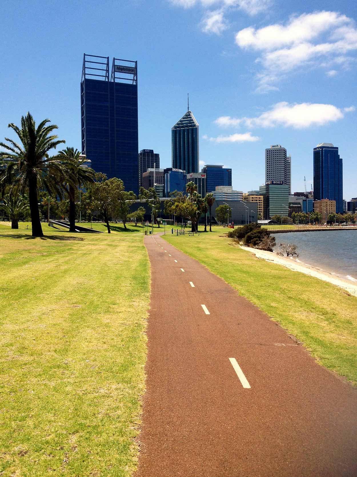 The Perth CBD from the path between the Swan River and Riverside Drive, Perth, Western Australia