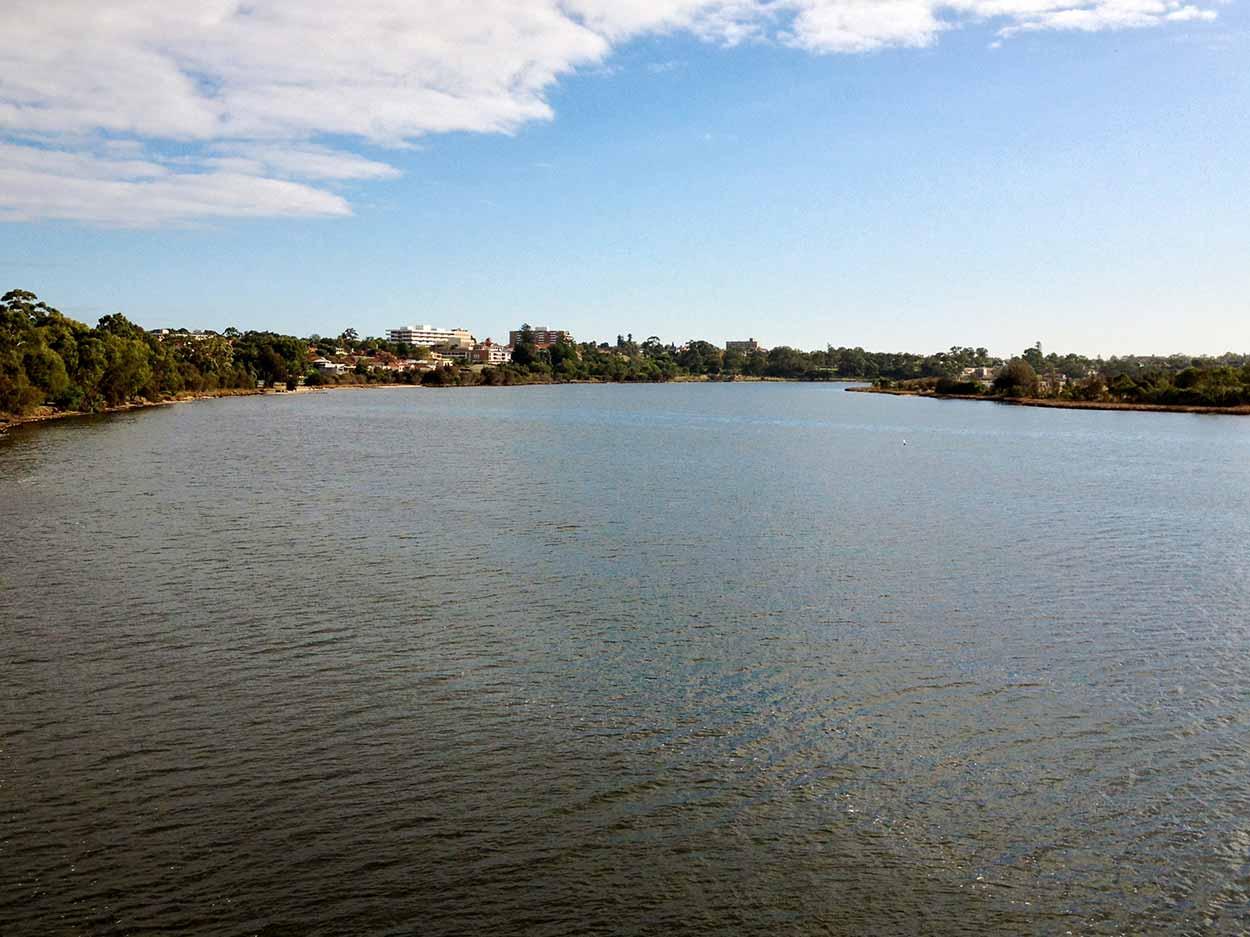 Crossing the Swan River at Windan Bridge, Perth, Western Australia