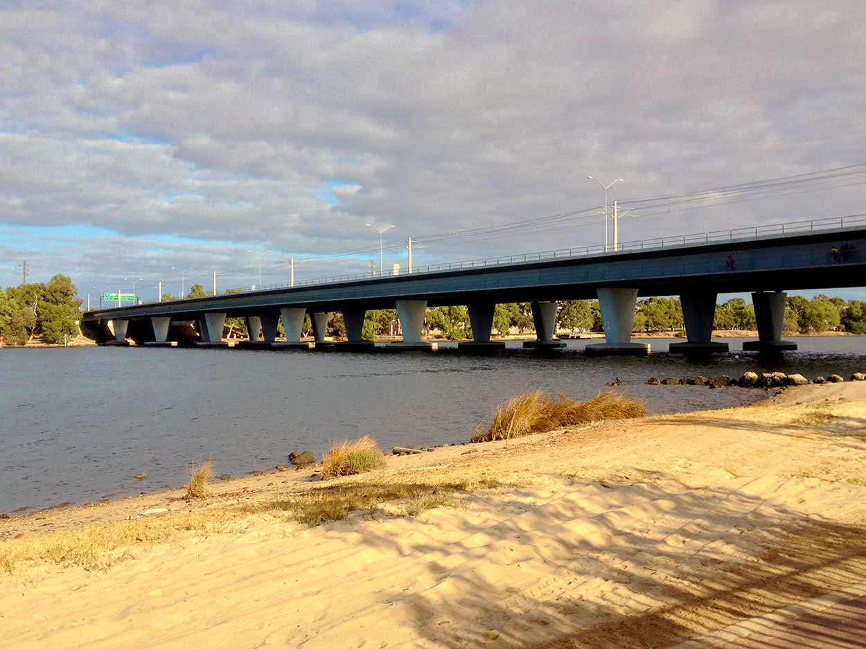 Windan Bridge as viewed from path next to the former Burswood Park Golf Course, Perth, Western Australia