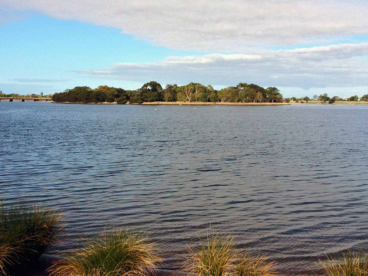 Looking over to Heirisson Island from the banks of the Swan River, Burswood, Perth, Western Australia