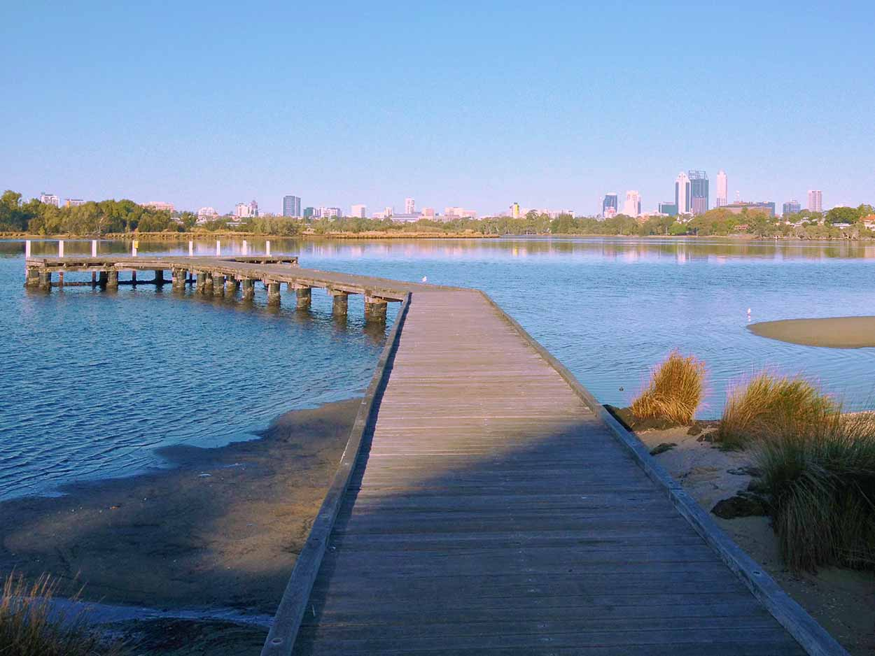 The Maylands Yacht Club jetty stretching out into the Swan River, Perth, Western Australia