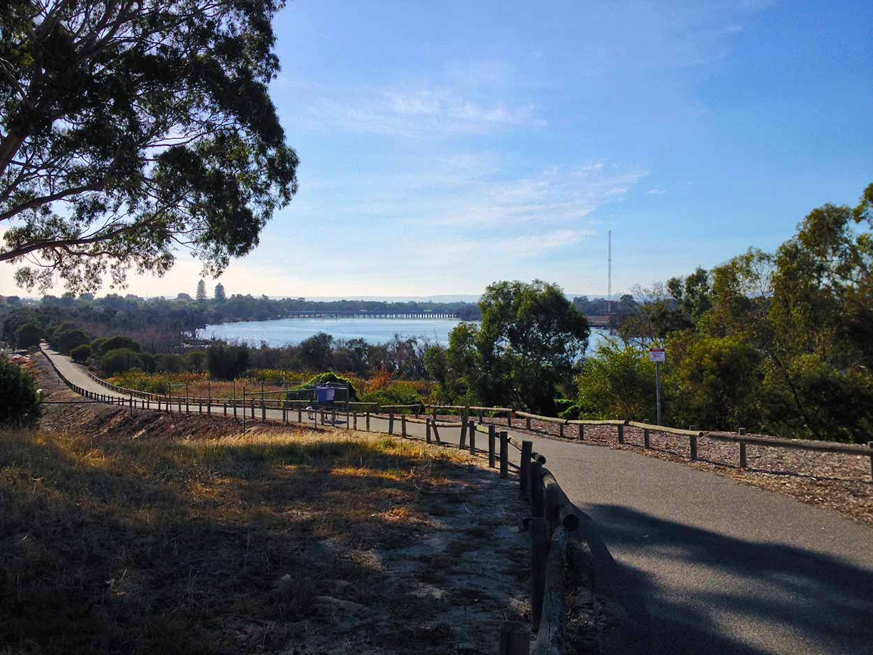 The path down to the Baigup Wetlands of the Swan River, Perth, Western Australia