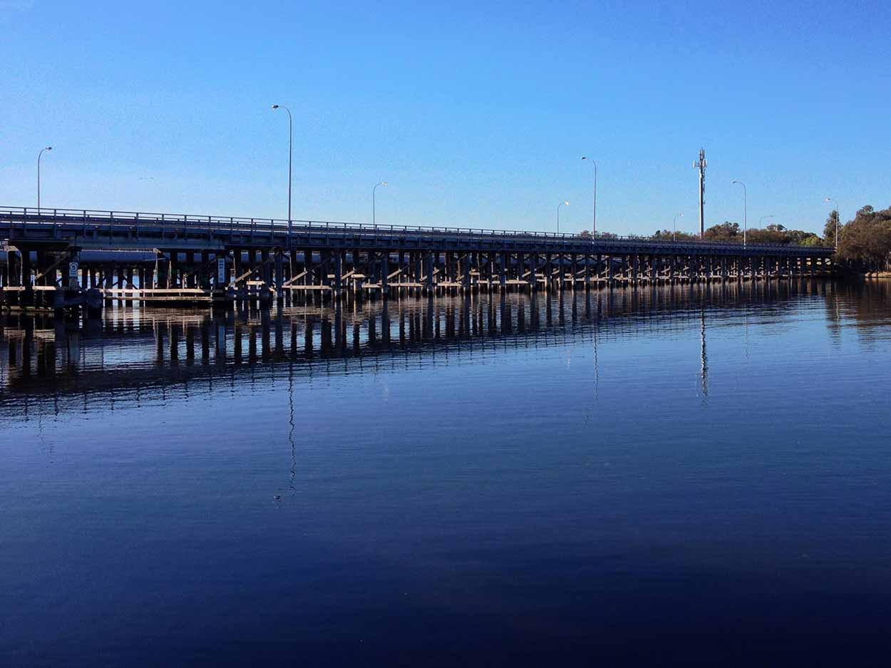 The Garratt Road Bridge crossing the Swan River from the Baigup Wetlands boardwalk, Perth, Western Australia