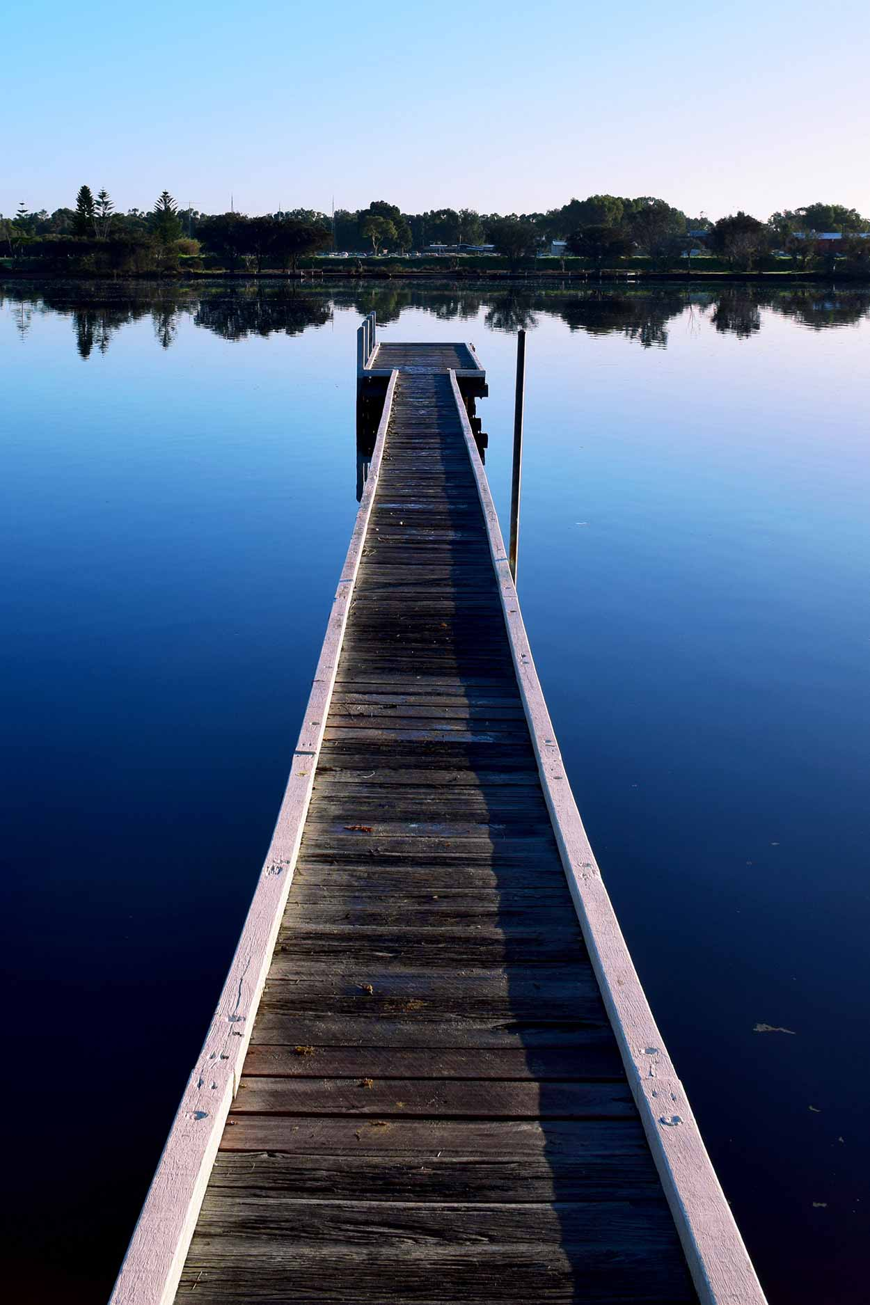 The Cracknell Park jetty on the Rivervale bank of the Swan River, Perth, Western Australia