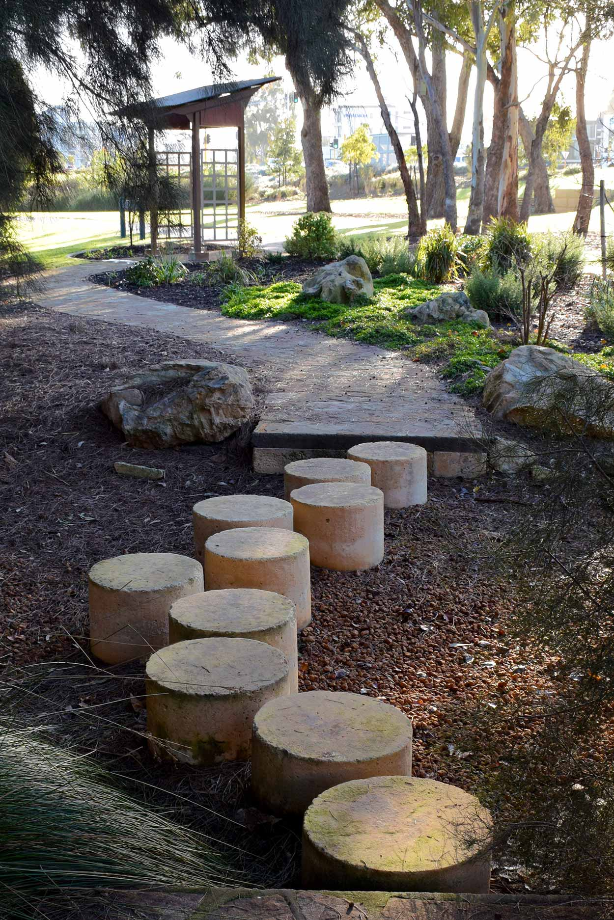 Stepping stones within Adachi Park on the Belmont bank of the Swan River, Perth, Western Australia