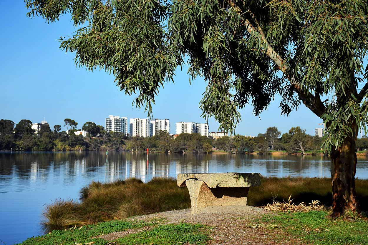 Take a seat on the eastern bank of Black Swan Island and overlook the calm waters of the Swan River, Perth, Western Australia