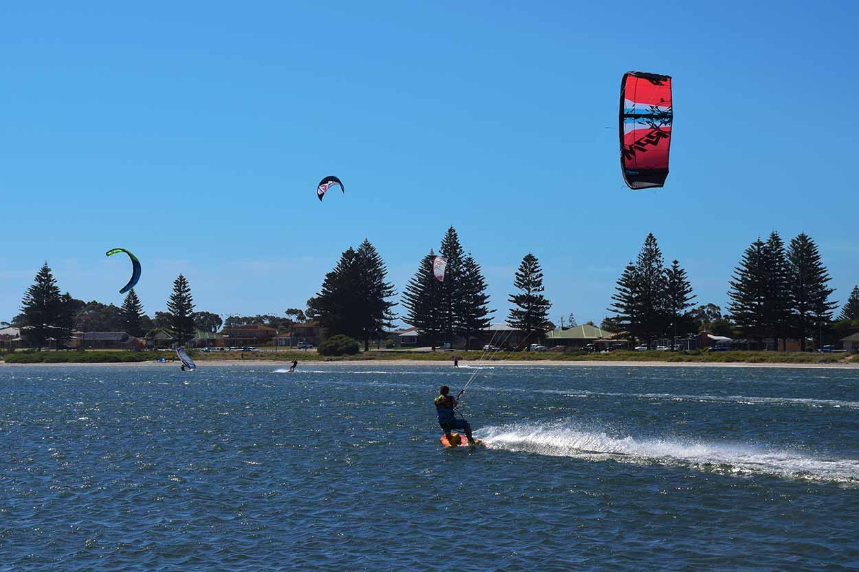 Kitesurfers enjoying the wind at The Pond, Rockingham, Perth, Western Australia
