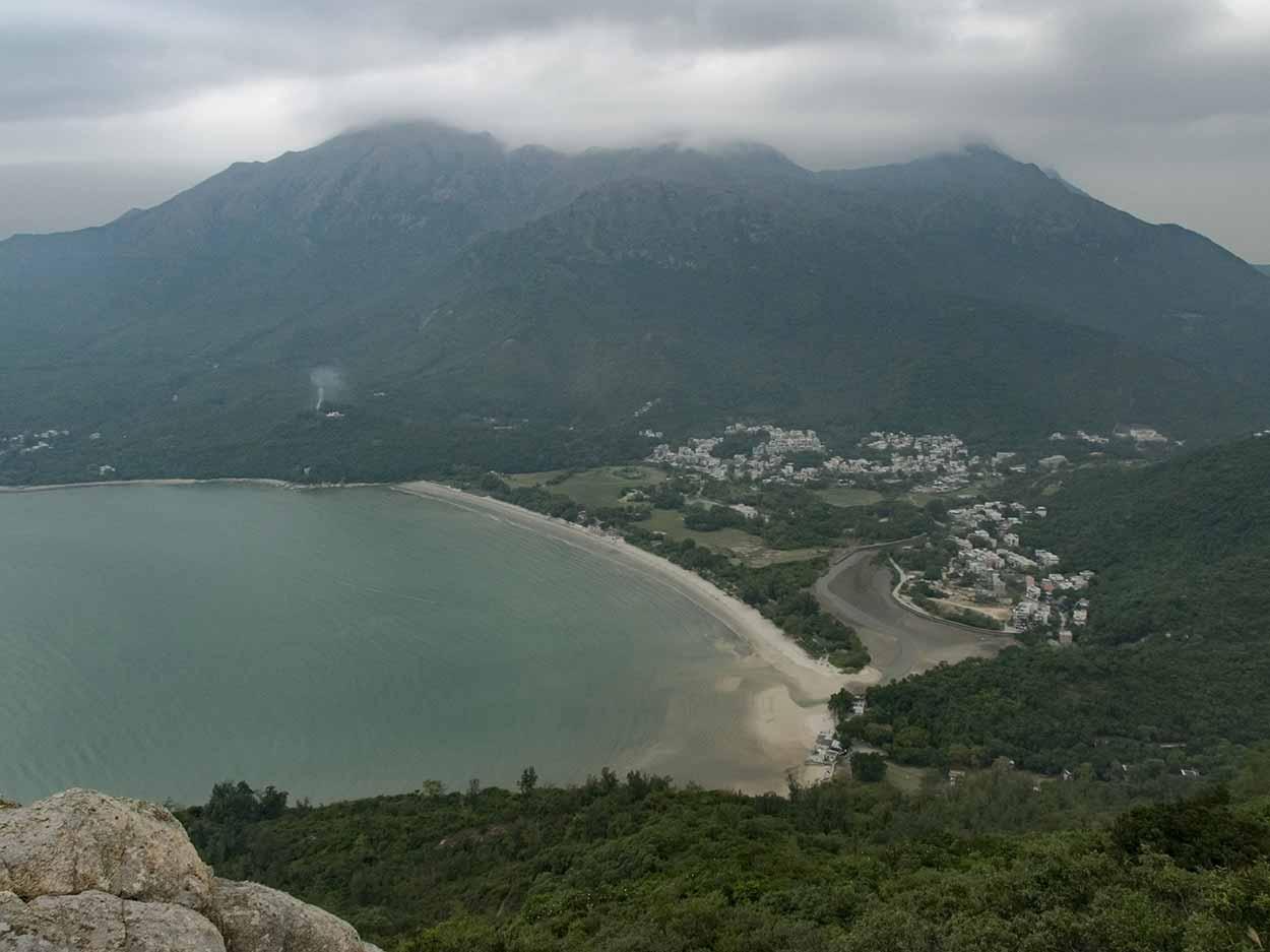Panoramic views over Pui O Beach, Chi Ma Wan Country Trail, Lantau Island, Hong Kong, China