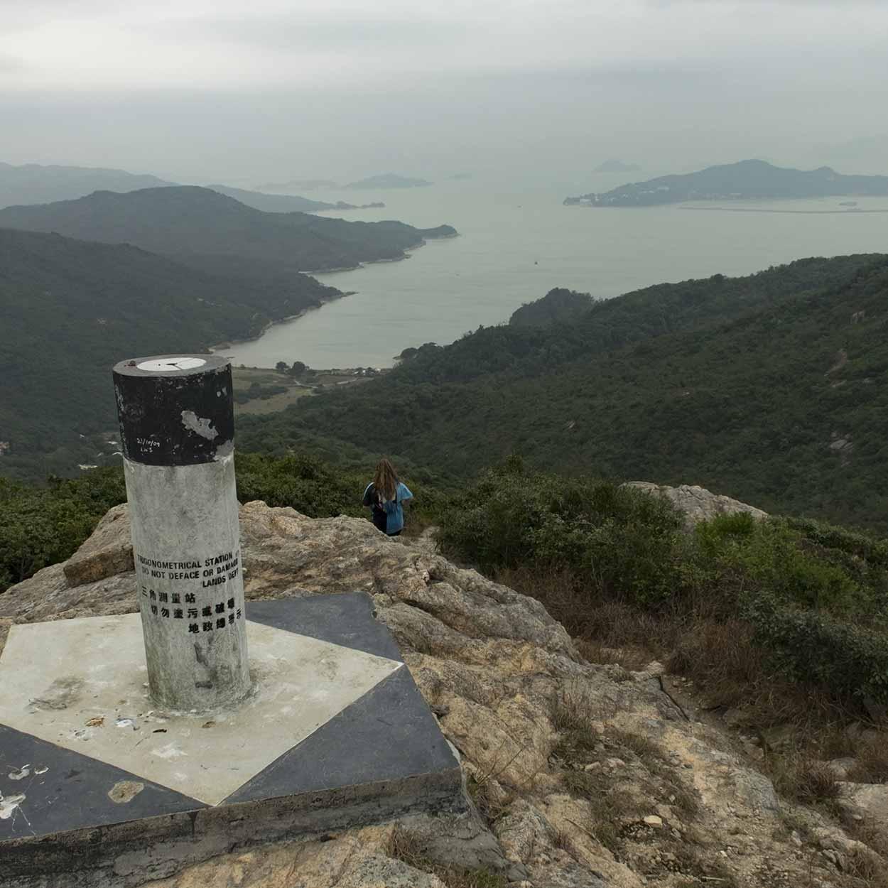 Survey marker with a view, Chi Ma Wan Country Trail, Lantau Island, Hong Kong, China