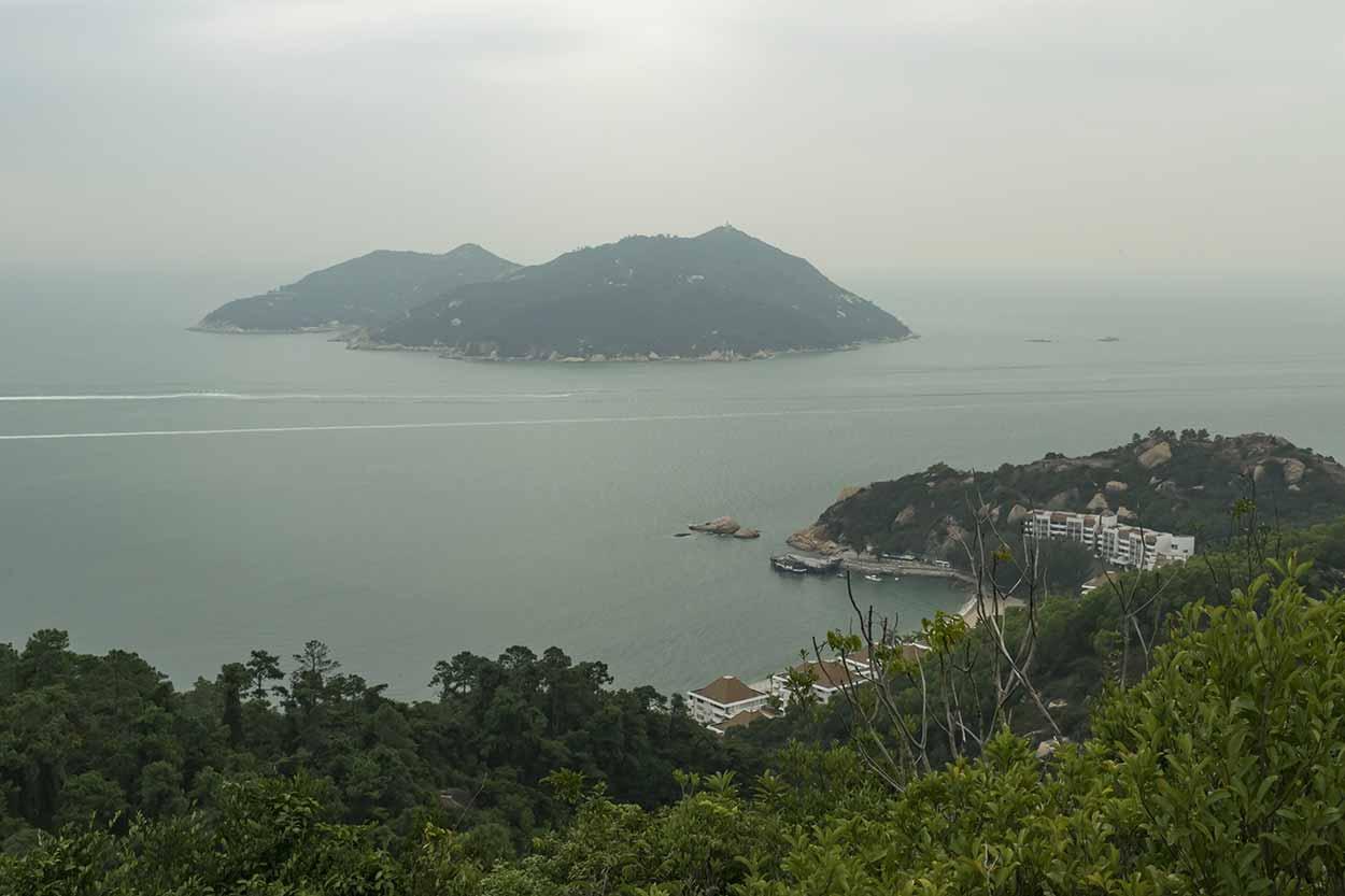 View over Yi Long Wan to Shek Kwu Chau, Chi Ma Wan Country Trail, Lantau Island, Hong Kong, China